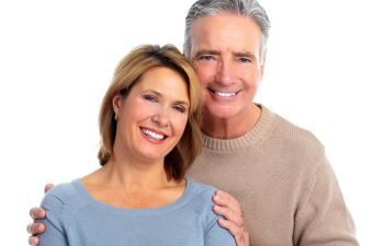 Smiling couple of elderly people